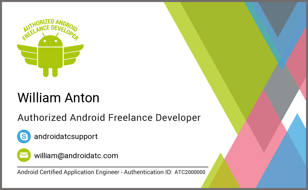 Android Freelance Developer Business card