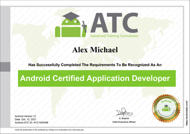 android application development certificate version 12
