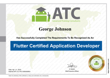 Flutter Certified Application Developer Certificate