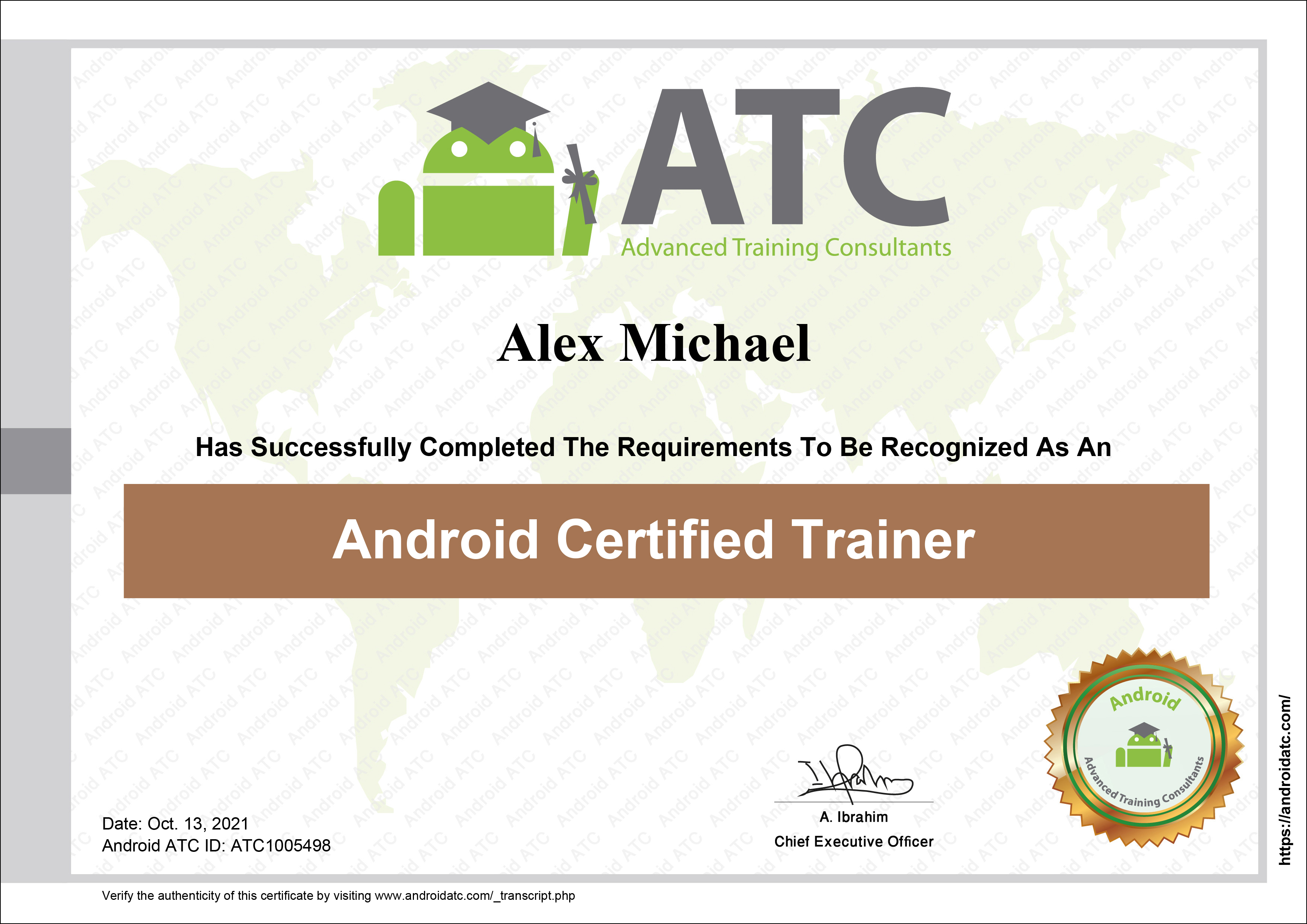 Android certified trainer